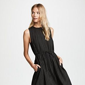 NWT VINCE BAR PANELLED LONG DRESS IN BLACK. SZ.L